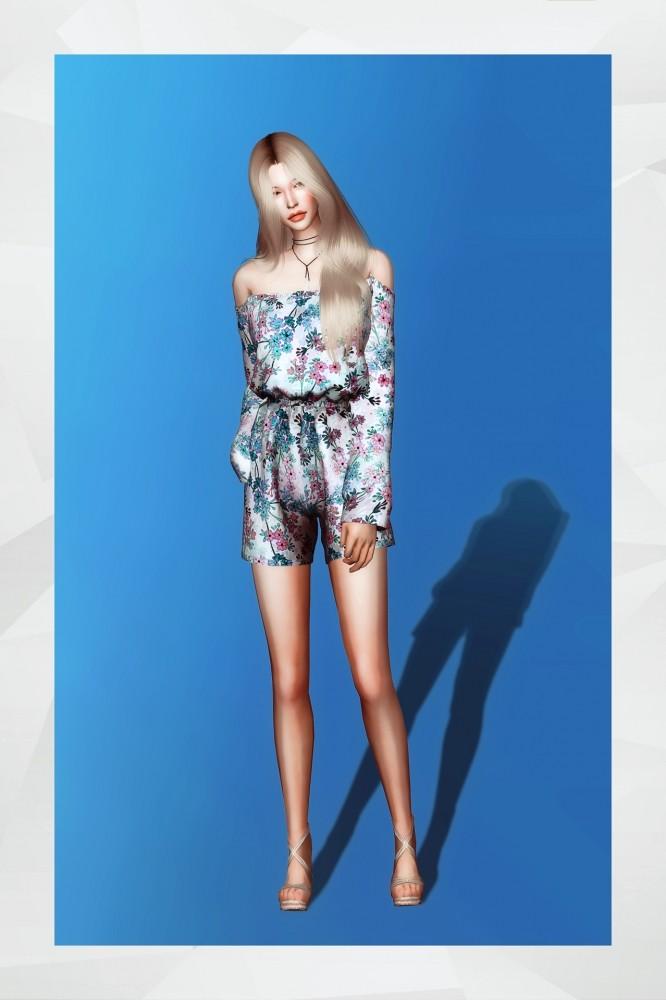 Off Shoulder Short Jumpsuit at Gorilla image 1419 666x1000 Sims 4 Updates