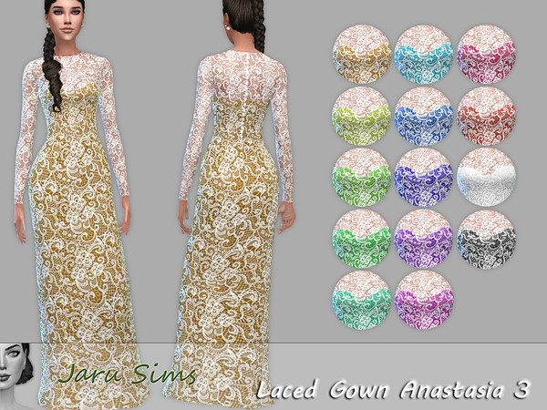 Sims 4 Laced Gown Anastasia 3 by Jaru Sims at TSR
