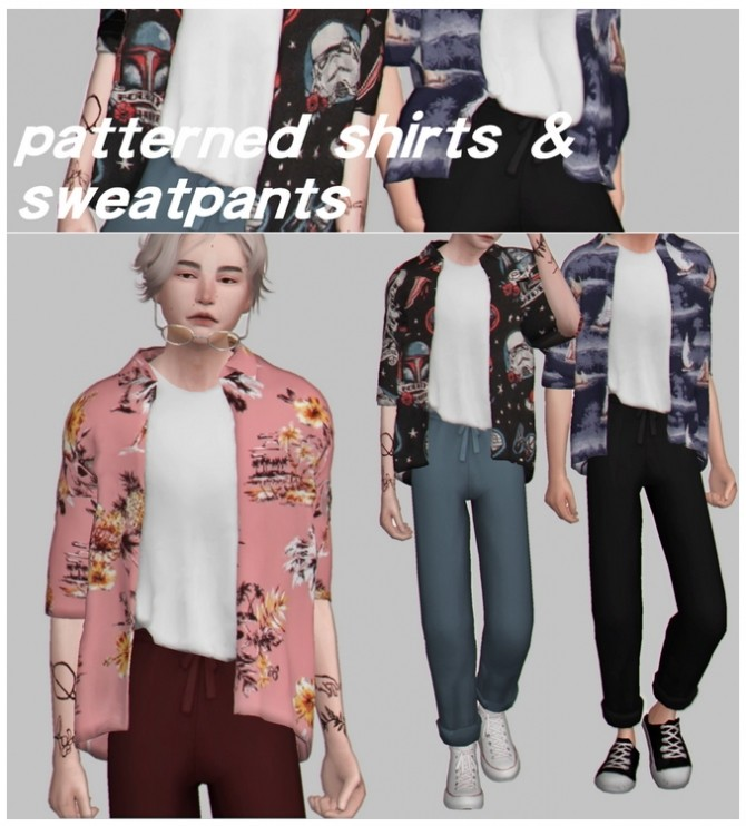Sims 4 Patterned shirts & sweatpants at Casteru