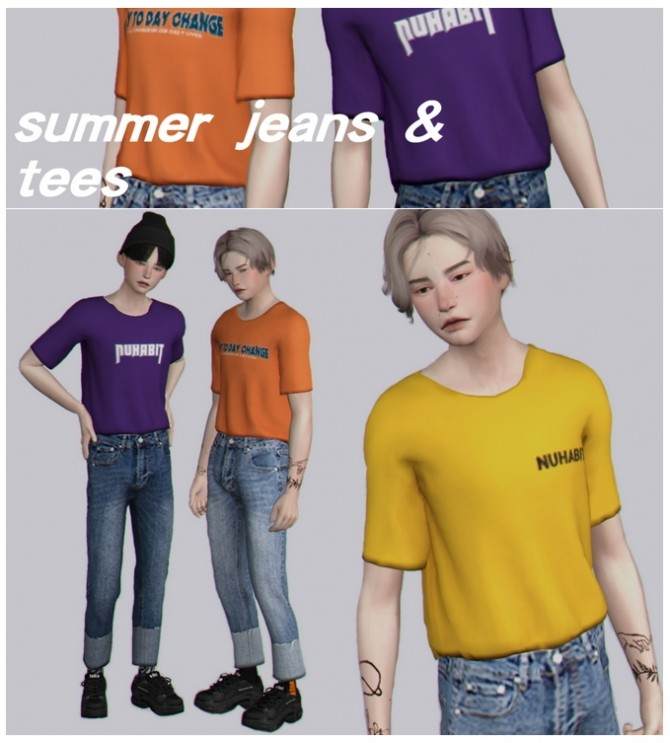Sims 4 Summer jeans & tees at Casteru
