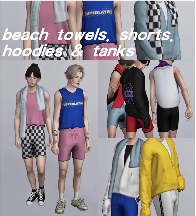 Sims 4 Beach towels, shorts, hoodies & tanks at Casteru