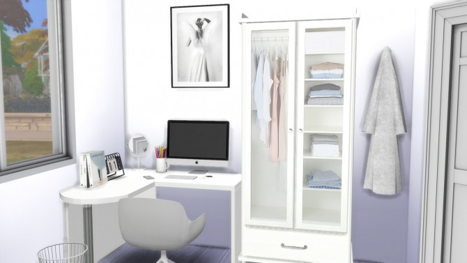 Sims 4 ALL WHITE BEDROOM at MODELSIMS4