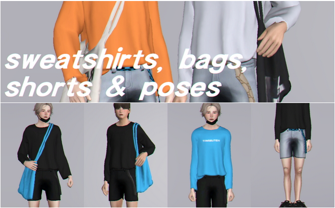 Sweatshirts, bags, shorts with belt & poses at Casteru image 1495 Sims 4 Updates