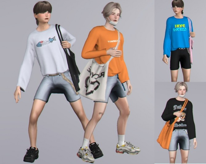 Sweatshirts, bags, shorts with belt & poses at Casteru image 1505 670x535 Sims 4 Updates