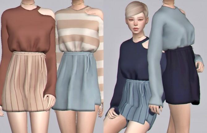 Sims 4 Cutout top & tied skirt at Casteru