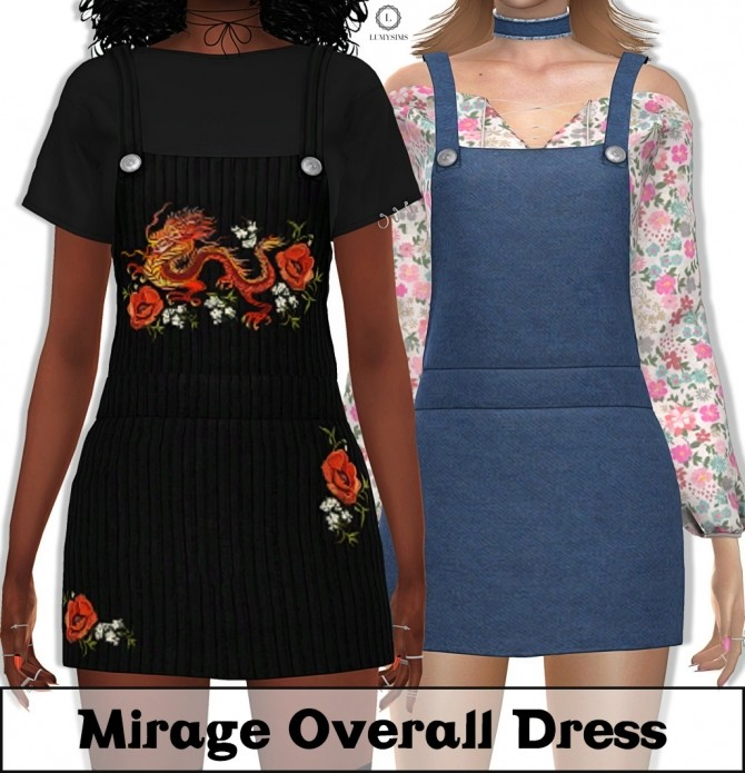 Sims 4 Mirage Overall Dress at Lumy Sims