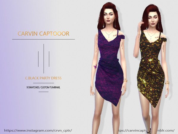 Sims 4 Black Party Dress by carvin captoor at TSR