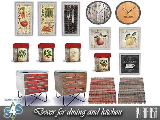 Sims 4 Decor for dining and kitchen at Aifirsa