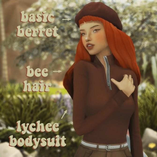 Sims 4 Ridgeport's lychee bodysuit, waekey's basic beret & simandy's bee hair recolours at cowplant pizza