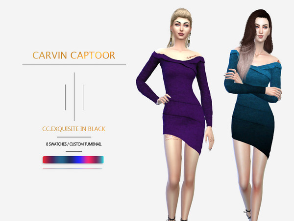 Sims 4 Exquisite dress in black by carvin captoor at TSR