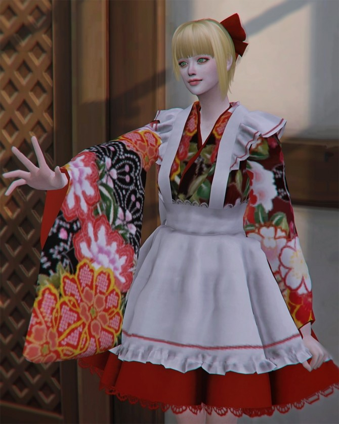 Japanese Kimono Maid Dress At Shendori Sims 187 Sims 4 Updates