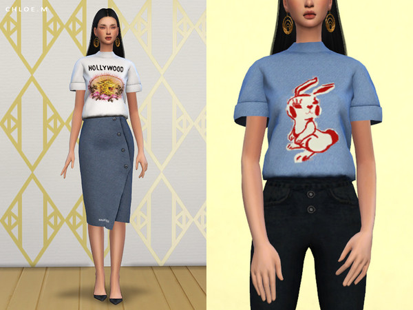 Printed T shirt by ChloeMMM at TSR image 1840 Sims 4 Updates