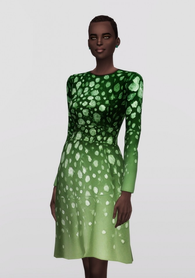Blue floral print crepe dress (12 colors) at Rusty Nail image 1932 670x957 Sims 4 Updates