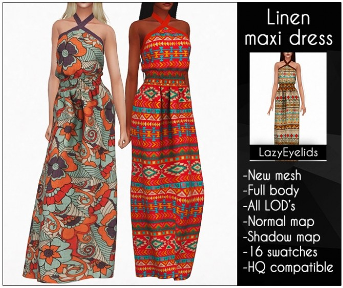 Sims 4 Linen maxi dress at LazyEyelids