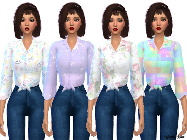 Sims 4 Knotted Button Up shirt by Wicked Kittie at TSR