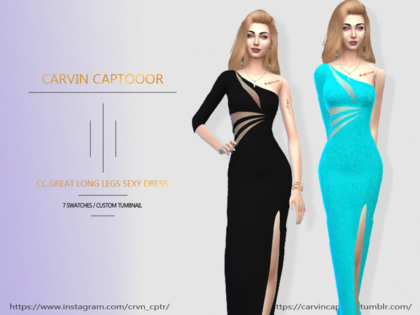 Sims 4 Great Long Dress by carvin captoor at TSR