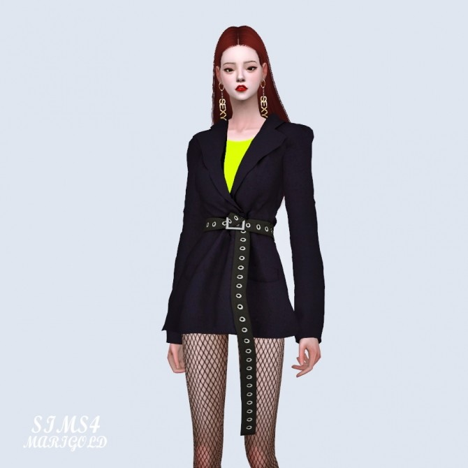 Oversized Blazer With Long Belt at Marigold image 2031 670x670 Sims 4 Updates