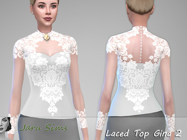 Laced Top Gina 2 by Jaru Sims at TSR image 2037 Sims 4 Updates