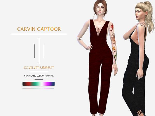 Sims 4 Velvet Jumpsuit by carvin captoor at TSR
