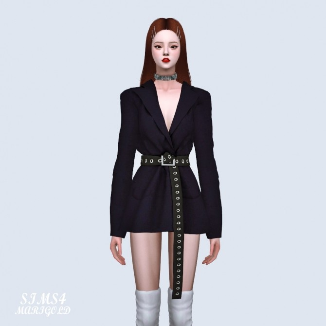 Oversized Blazer With Long Belt at Marigold image 2051 670x670 Sims 4 Updates