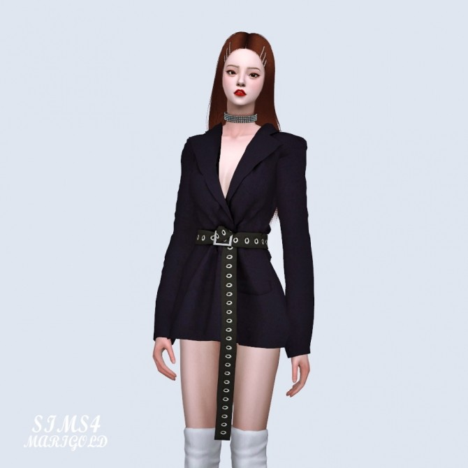 Oversized Blazer With Long Belt at Marigold image 2061 670x670 Sims 4 Updates