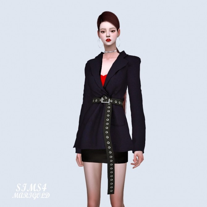 Oversized Blazer With Long Belt at Marigold image 2071 670x670 Sims 4 Updates