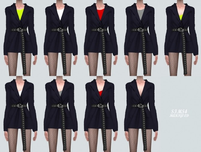 Oversized Blazer With Long Belt at Marigold image 2081 670x507 Sims 4 Updates