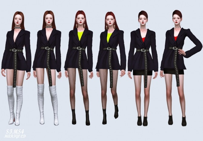Oversized Blazer With Long Belt at Marigold image 2091 670x467 Sims 4 Updates