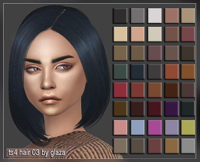 Hair 03 at All by Glaza image 2094 Sims 4 Updates