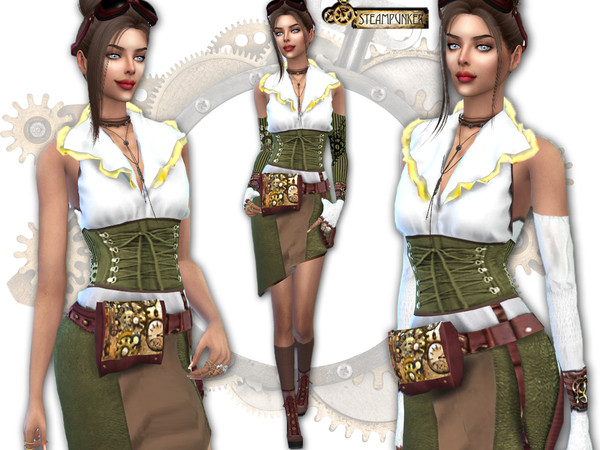 Sims 4 Steampunk dress by Sims House at TSR
