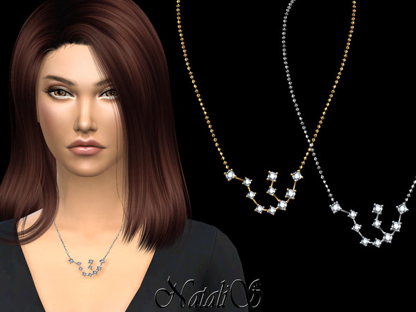 Sims 4 Aquarius zodiac necklace by NataliS at TSR