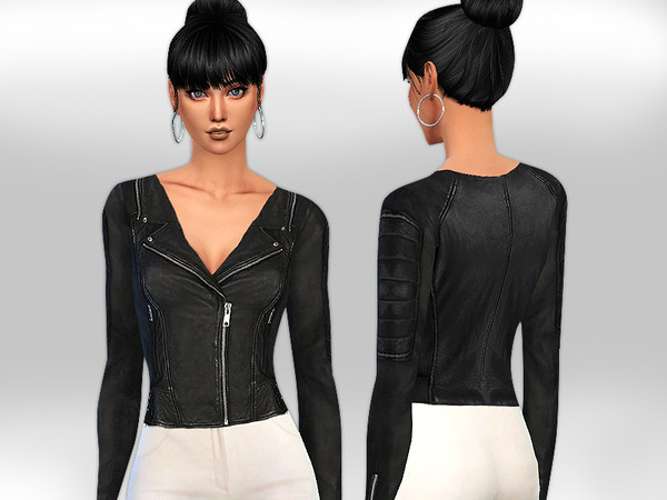 Sims 4 Realistic Fit Black Leather Jacket by Saliwa at TSR