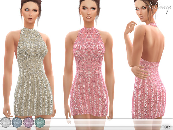 Sims 4 High Neck Beaded Dress by ekinege at TSR