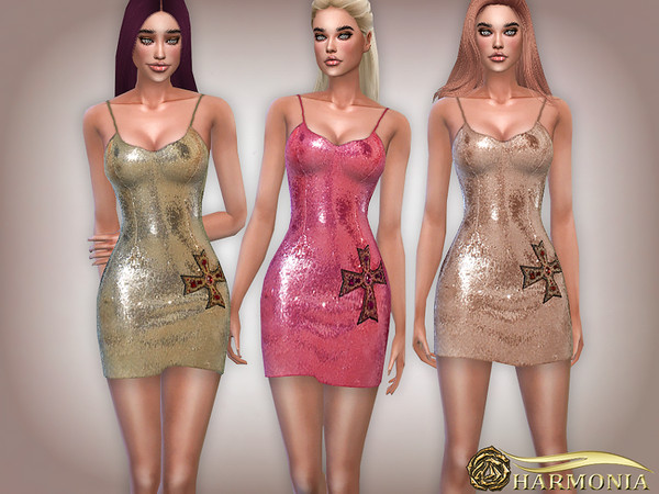 Sims 4 Sequin Cross Embellished Bodycon Dress by Harmonia at TSR