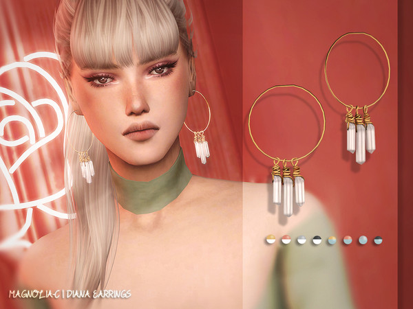 Sims 4 Diana Earrings by Magnolia C at TSR
