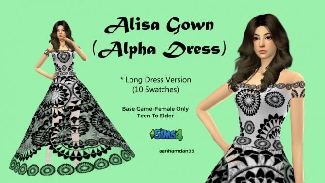 Sims 4 Alisa Gown at Aan Hamdan Simmer93