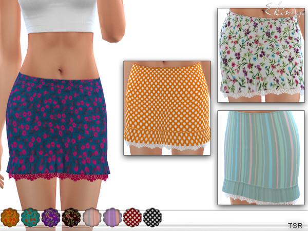 Printed Ruffle Lace Hem Skirt by ekinege at TSR image 2330 Sims 4 Updates