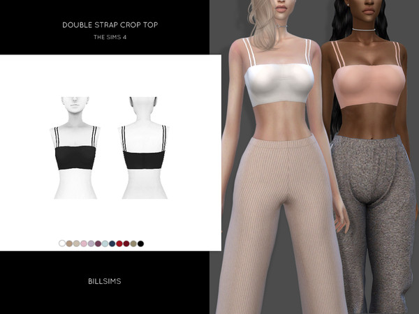 Sims 4 Double Strap Crop Top by Bill Sims at TSR