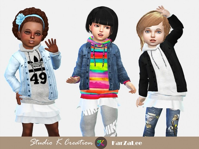 Jeans Jacket hoodie top toddler at Studio K Creation image 2344 670x502 Sims 4 Updates