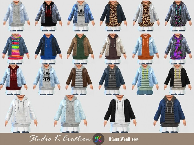 Jeans Jacket hoodie top toddler at Studio K Creation image 2354 670x502 Sims 4 Updates