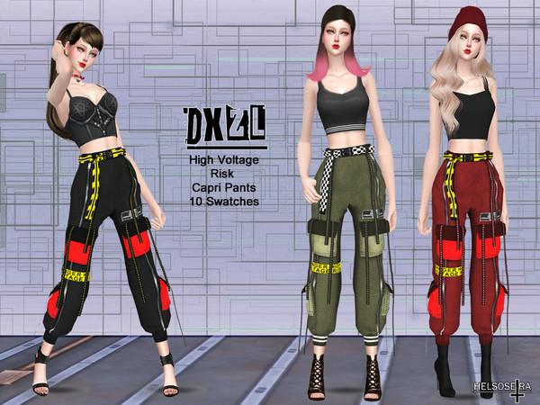 Sims 4 DXZL Industrial Capri Pants by Helsoseira at TSR