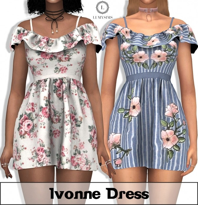 Sims 4 Ivonne Dress at Lumy Sims