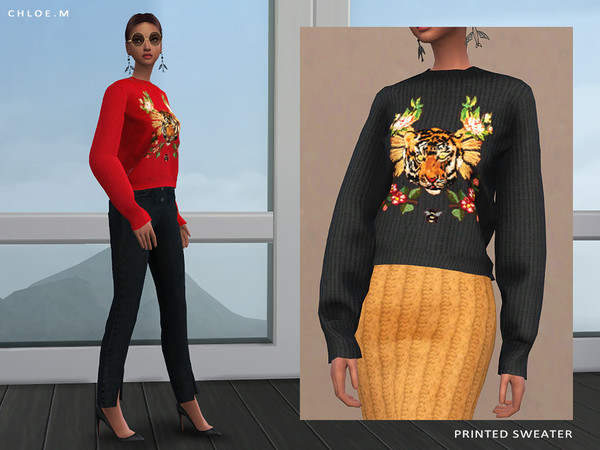 Sims 4 Printed Sweater by ChloeMMM at TSR