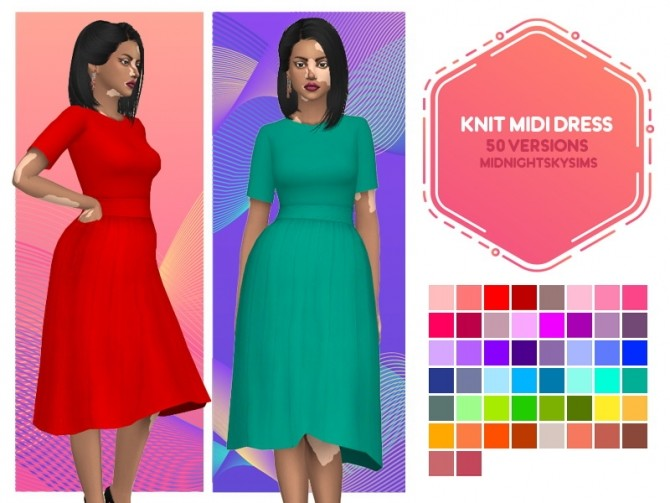 Strech knit midi dress recolors at Midnightskysims image 2603 670x503 Sims 4 Updates