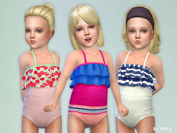 Toddler Swimsuit P05 by lillka at TSR image 2610 Sims 4 Updates