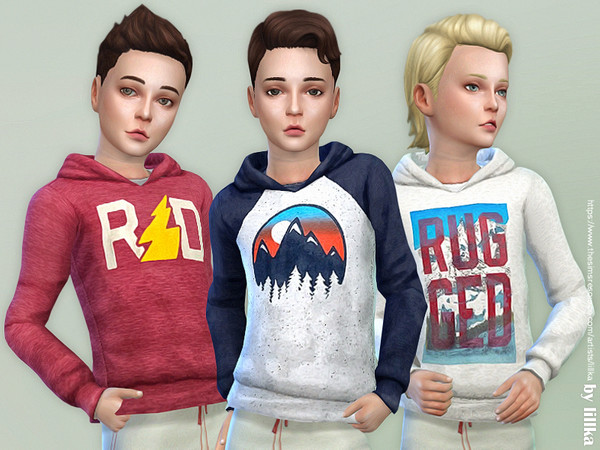 Sims 4 Hoodie for Boys P17 by lillka at TSR