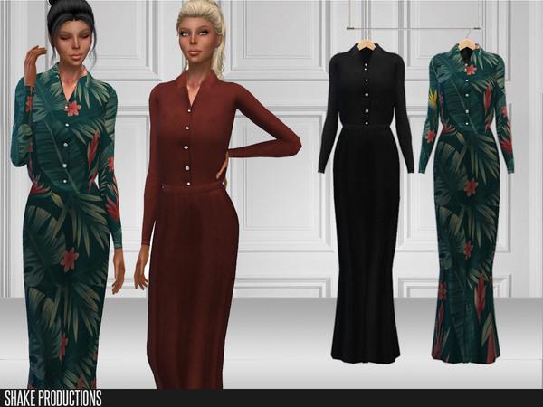 Sims 4 225 Long Dress by ShakeProductions at TSR