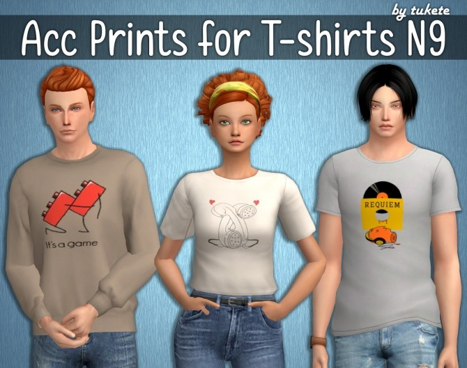 Sims 4 Acc Prints for T shirts Part 9 at Tukete