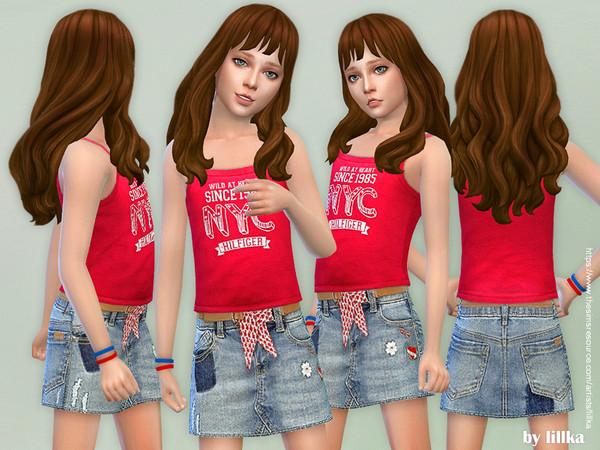 Sims 4 Denim Skirt for Girls by lillka at TSR