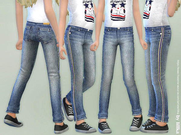 Girls Basic Jeans by lillka at TSR image 2724 Sims 4 Updates